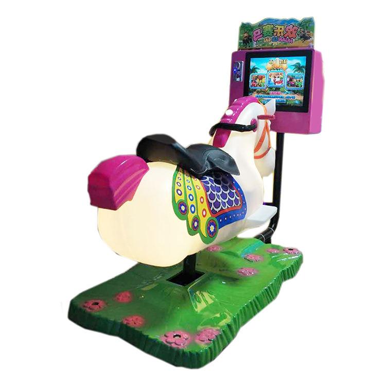 """داخلي 17 """"HD شاشة ماكينة مقاعد ألعاب المحاكاة عملة تعمل مجنون الحصان الحيوان ألعاب ركوب للأطفال"""