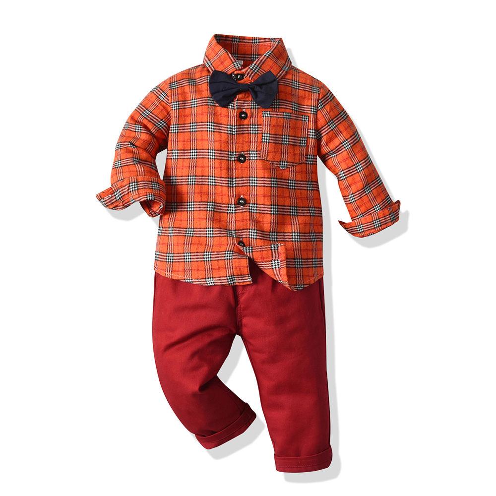 Laranja camisa xadrez e calças 2 peças conjunto vestuário infantil 2020 moda outono roupa dos miúdos para meninos