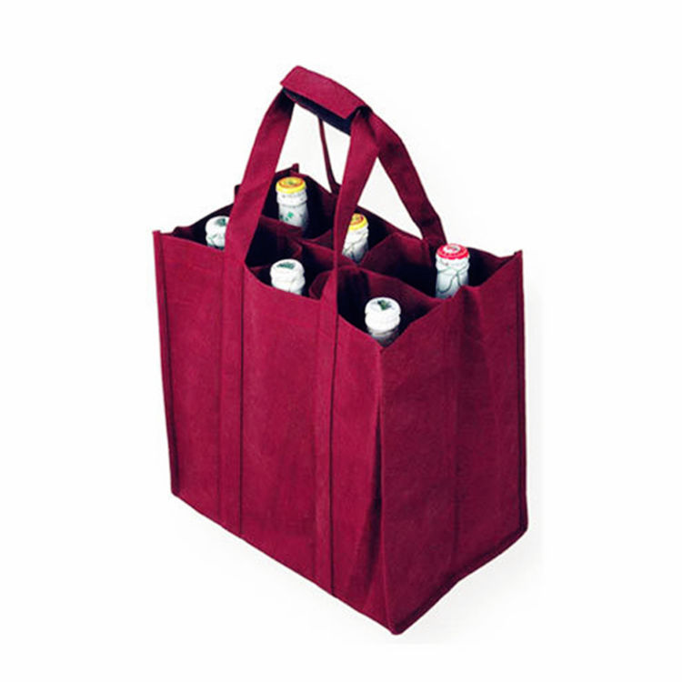 4 Bottles Sublimation Non Woven Wine Bag Canvas Wine Gift Bag 6 Bottles Wine Bag in Box