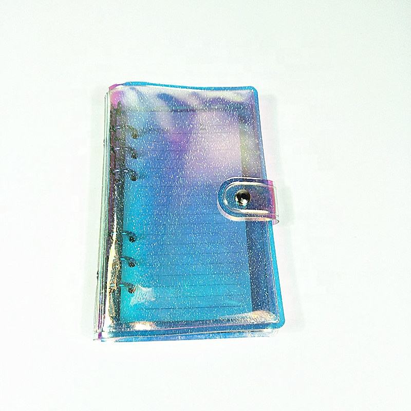 A5 A6 A7 Refillable Holographic Journal Binder Cover Rainbow PVC Notebook Shell with Snap Button Closure 6 Rings Loose Leaf Case