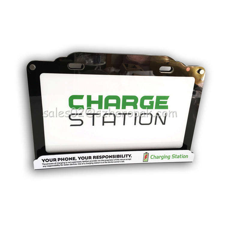 Eight-port mobile phone charging station with LCD advertising screen for company