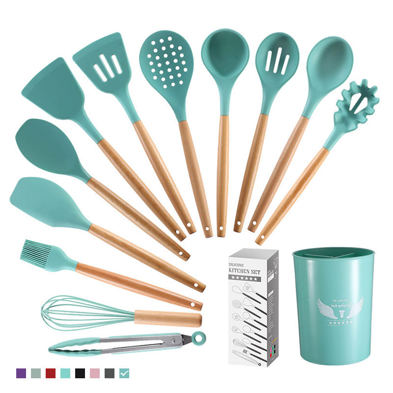 13 Pieces Set Silicone Kitchen Cooking Tools Stand Kitchenware Spatula Silicone Kitchen Utensils Set With Barrel