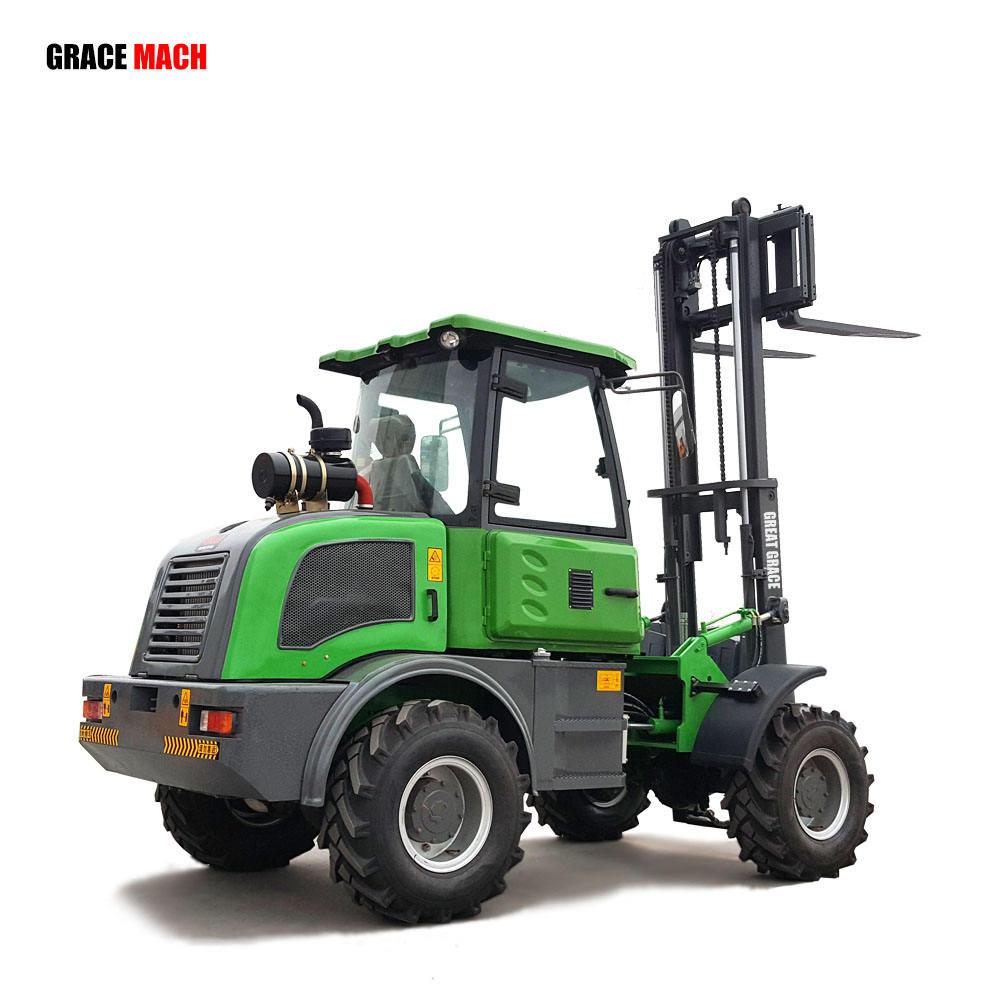 フォークリフト 15 トン 20 トン 4 × 4 ラフ地形フォークリフトとrops/fops cab