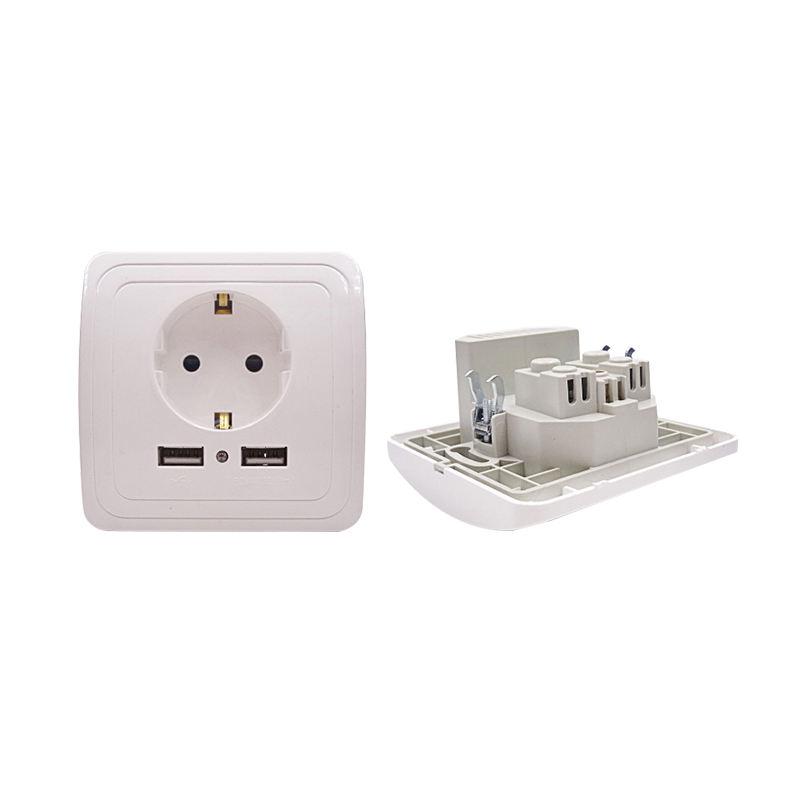 러시아/우크라이나/네덜란드 표준 듀얼 USB 포트 벽 충전기 2A 벽 충전기 어댑터 소켓