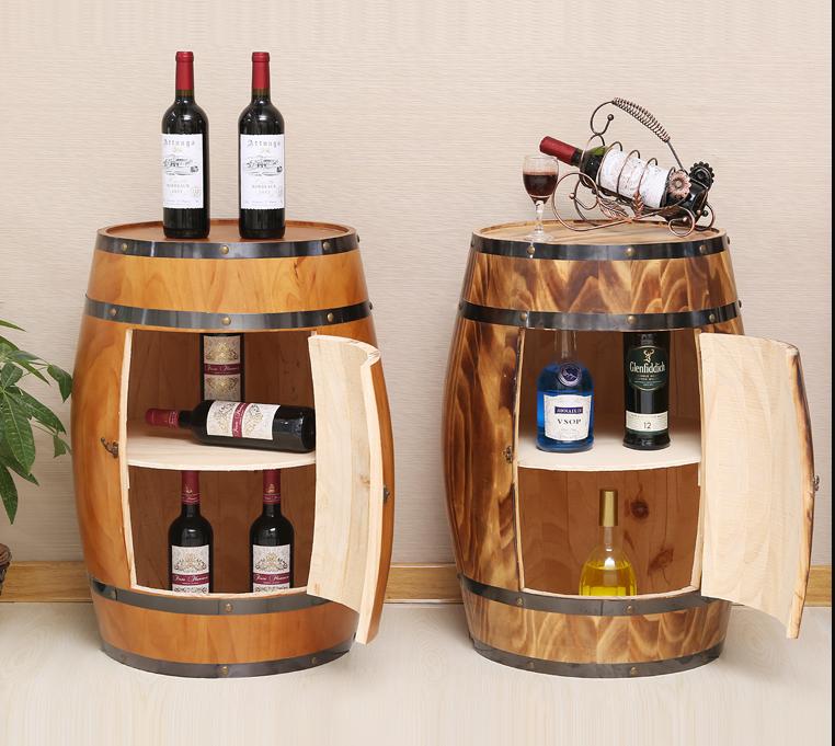 Bar independiente de vino de madera de barril forma botellas muebles de almacenamiento