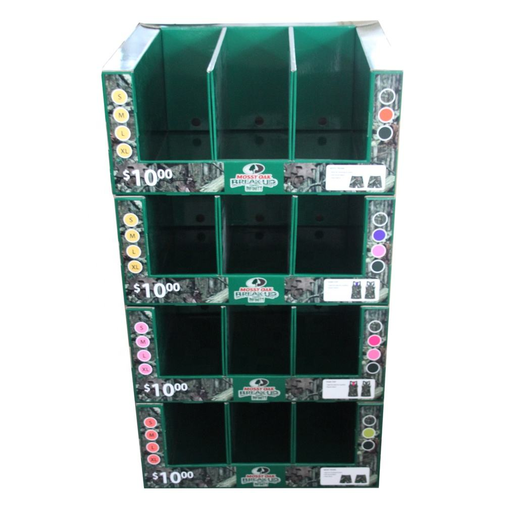 1/2 pallet floor display school bags supermarket shoes stand kids toy pallet travel bags cardboard tray pallet display