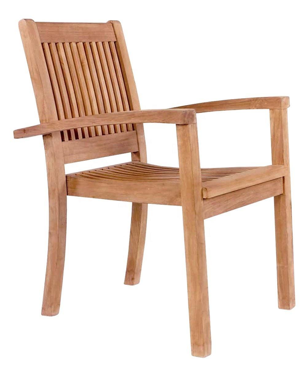 Teak wood Patio Garden Stackable Chair Indonesia Outdoor Furniture , teak wood acacia wood