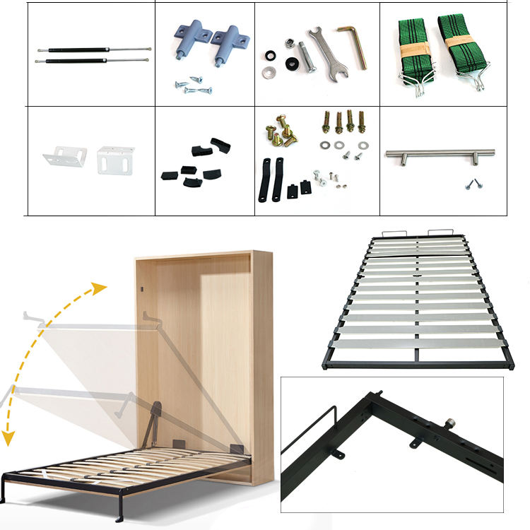 Custom made space saving wooden folding murphy bed mechanism in Good Quality