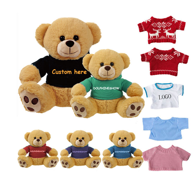 2021 Baby plush toy kids girl gifts teddy bear wholesale low MOQ custom teddy bear with Logo T-shirt Hoodie