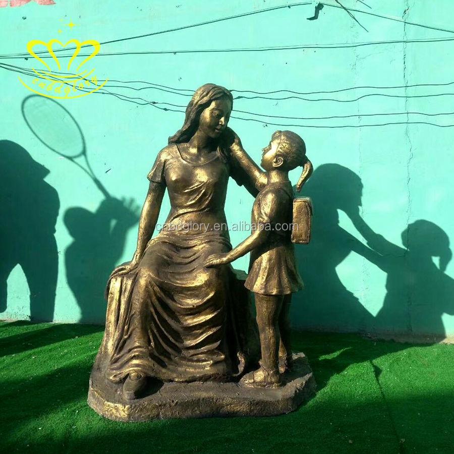 Jardín de esculturas al aire libre adornos de bronce de la madre y el niño estatua