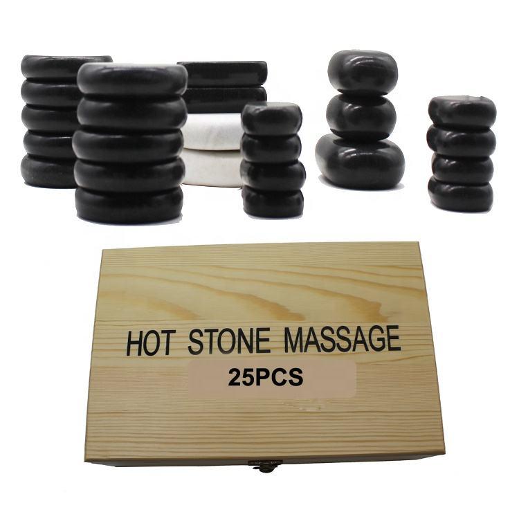 Uñas 25 espera calor ya Fitness Spa sal de bambú Kit de <span class=keywords><strong>masaje</strong></span> con piedras calientes