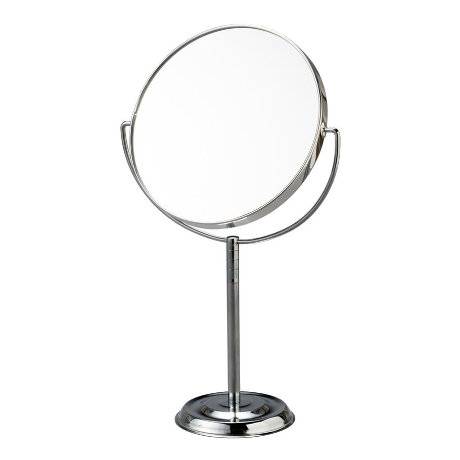 Silver finishing double-sidedvanity stand round desktop make up mirror