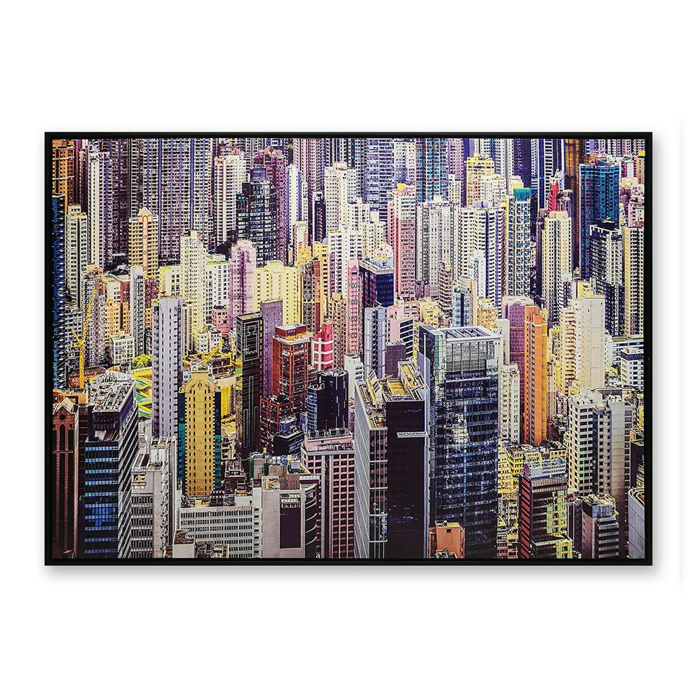 عكس ألوان النيون نمط الشهيرة لاندمارك مدينة قماش اللوحة الزخرفية جدار الفن