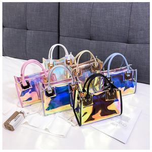 In Bulk 2021 Hot Selling Laser Clear Purses Sets Fashion Transparent Handbag Women PVC Holographic Jelly Purses Handbags In Bulk