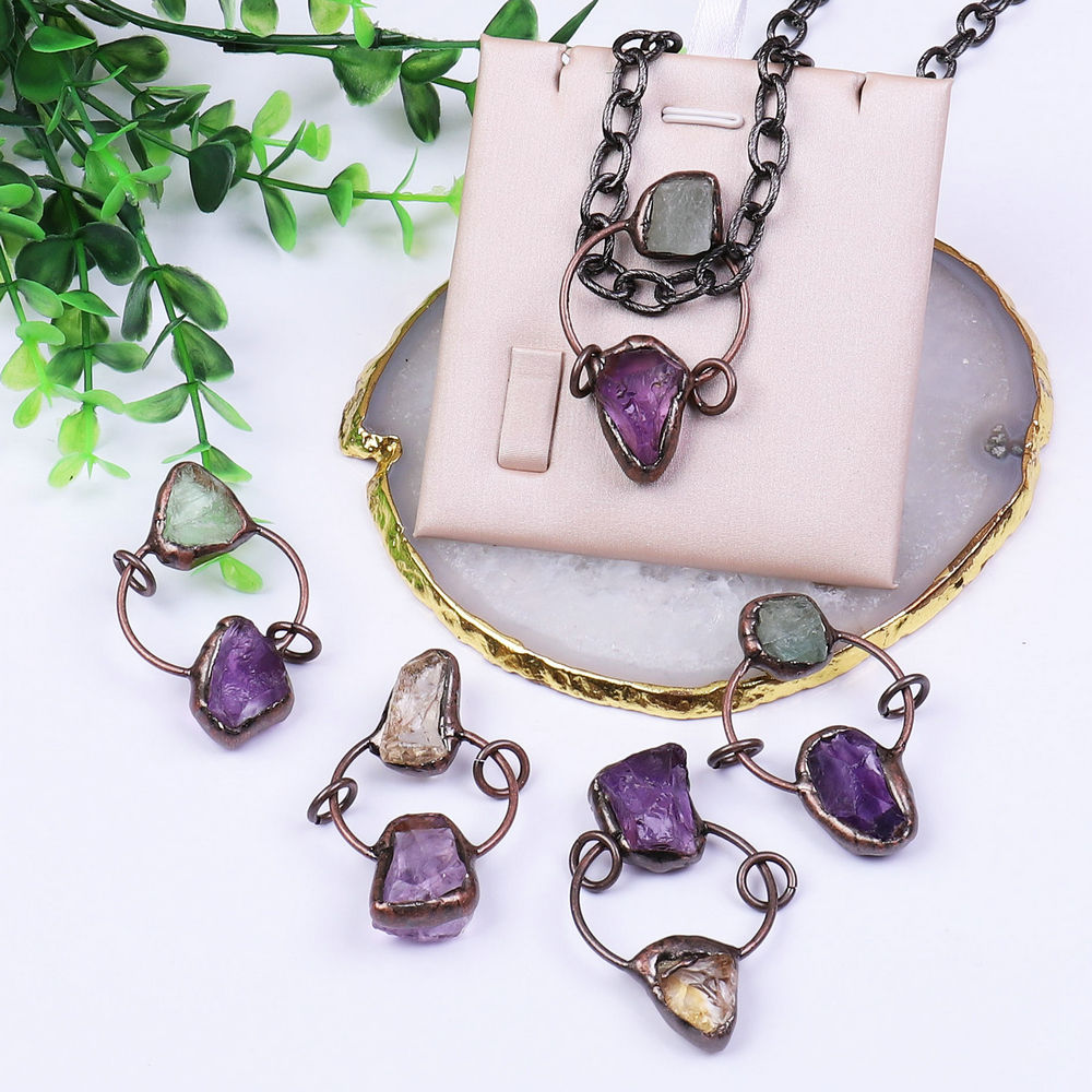 Layered Crystal Earrings Amethyst Rose Quartz and Green Agate