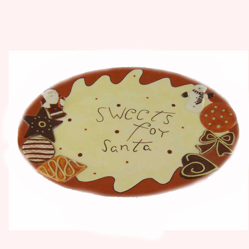 7.5 Inches Giáng Sinh Platter Trong Gingerbread Người Đàn Ông Hình Dạng Gốm Gingerman <span class=keywords><strong>Đĩa</strong></span> Cứng Kỳ Nghỉ <span class=keywords><strong>Đĩa</strong></span> Cứng Với Bowtie