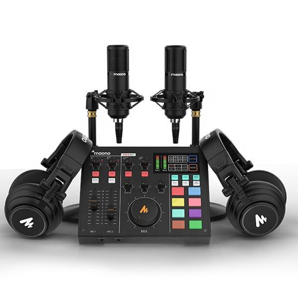 MAONOCASTER AM100 All-In-One Podcast Production Studio Kit Podcast Equipment With Sound Card Condenser Mic and Monitor Headphon