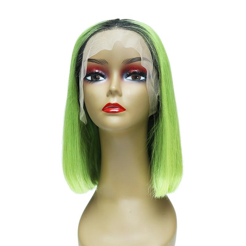 10A cutícula alineada ombre verde hierba color frontal de encaje de pelo remy bobo disfraz <span class=keywords><strong>peluca</strong></span>
