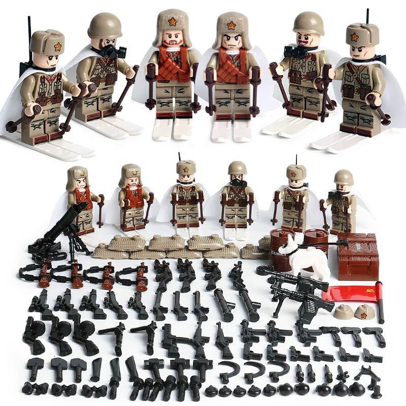 Oenux WW2 Mini Soviet Army Soldiers Building Block The Battle Of Moscow Russian Soldiers MOC Brick Toy
