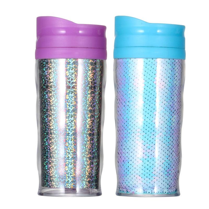 Libre de BPA fábrica BSCI Auditoría de plástico de doble pared de taza de viaje taza con cambiante <span class=keywords><strong>insertar</strong></span>