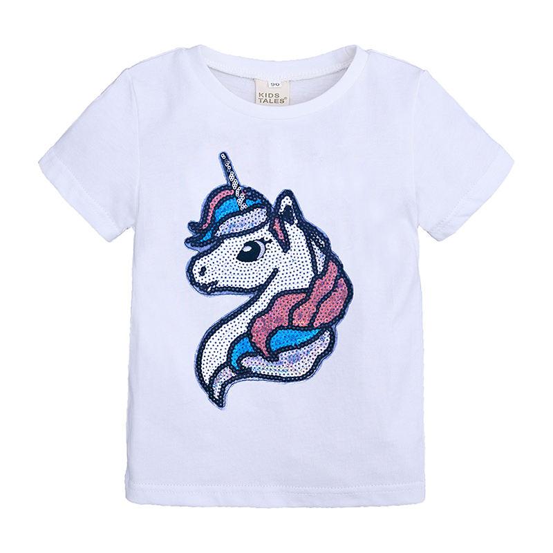 New design casual white unicorn short sleeve summer kids girls t shirt
