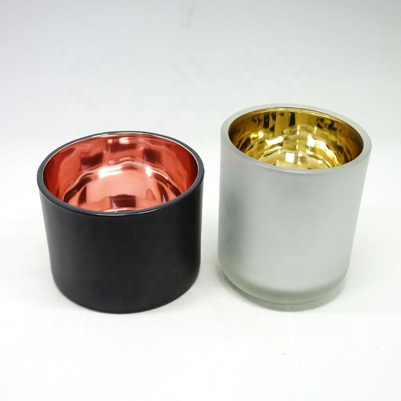 New arrival candle vessel inside electroplated gold glass candle jar