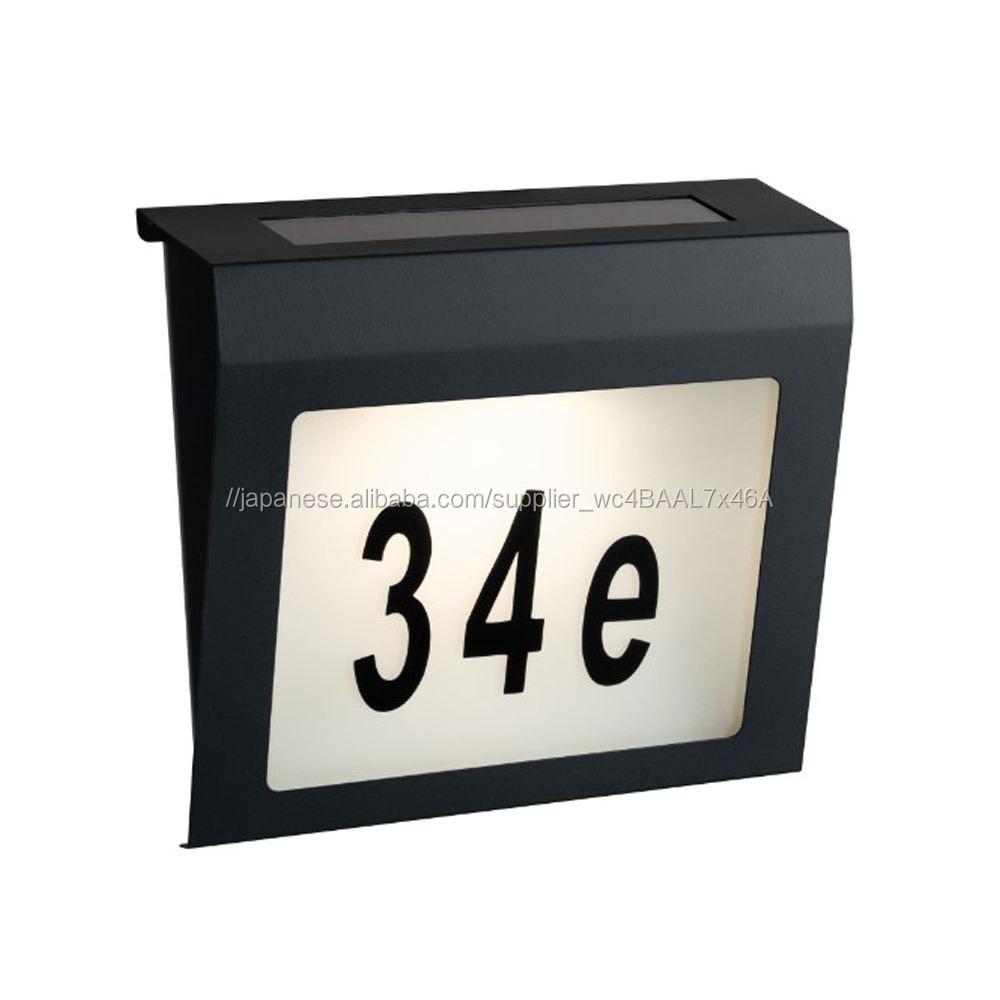 ソーラーアドレスサイン番号ライトステンレス鋼夕暮れにドアプレートライト