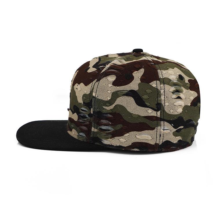 Precio barato personalizado Mens 6 Panel Snapback Cap al aire libre Premium Camo impresión del casquillo del Snapback