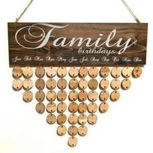 Custom Family Celebrations Board Birthdays Board  Birthday Reminder  Birthday Calendar  Home Decoration with round wooden discs