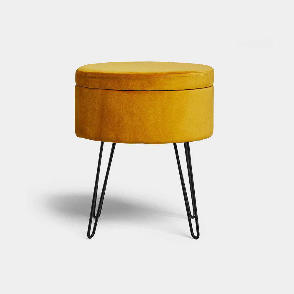 Custom round pouf modern velvet island storage ottomanpedicure chair stool with metal legs
