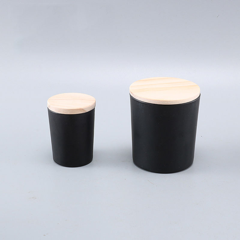 Promotion Factory black empty glass candle jars with wooden tins metal lids glass holders containers vessels for candles