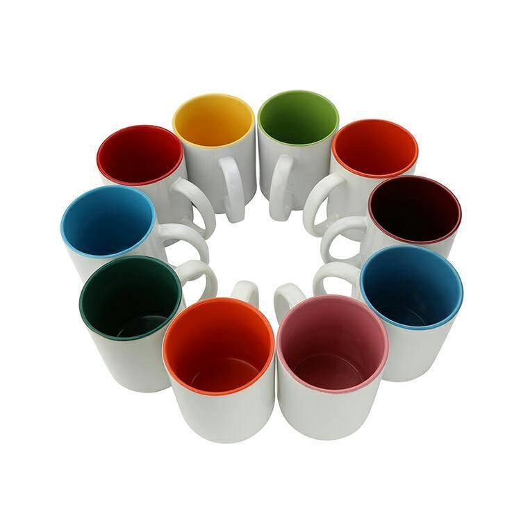 Couleur intérieure Avec Poignée Souvenir Blanc Personnalisé Impression De Porcelaine En Céramique De Sublimation Tasse