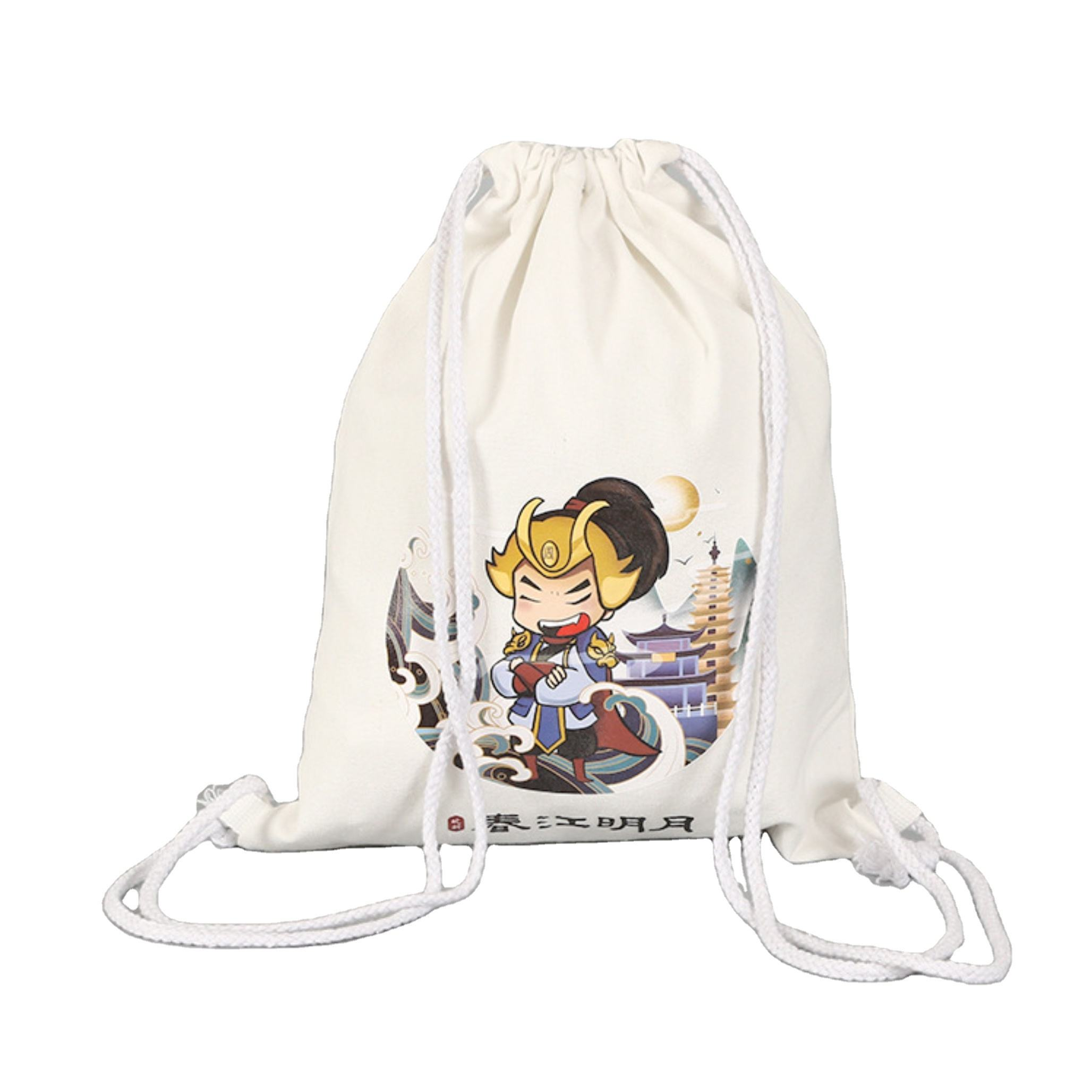 Wholesale Organic Cotton Contracted Customized Logo Storage Cotton Drawstring Backpack Bag