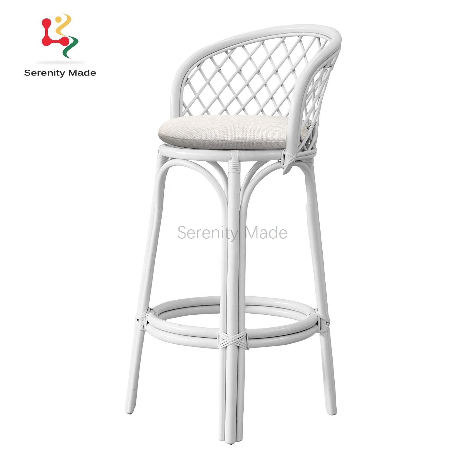 natural rattan wicker outdoor restaurant high bar stools with cushion