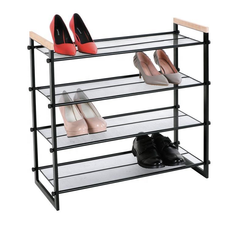 High Quality bamboo 4 tiers 12 pairs shoe display racks cabinet durable metal shoe rack organizer shoe rack boot rack . . . .