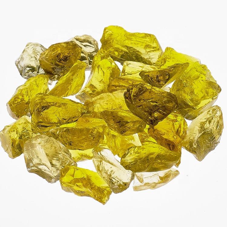 Кристалл <span class=keywords><strong>желтый</strong></span> стекло сад украшения стекло камень украшения для открытый огонь ямы