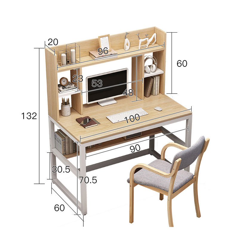 Wooden Home Office Table With Storage Shelves Computer Pc Laptop Desk Study Table For Office/