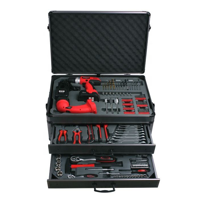 199 peças ferramentas manuais completas com caixa de metal de energia elétrica em conjunto de ferramentas de alumínio