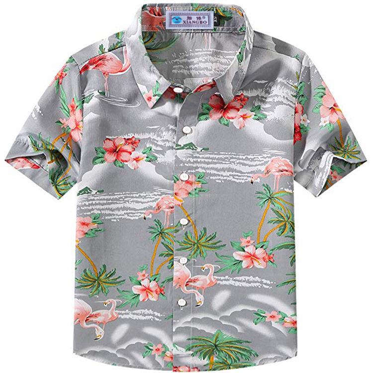 Детская Повседневная гавайская рубашка с короткими рукавами