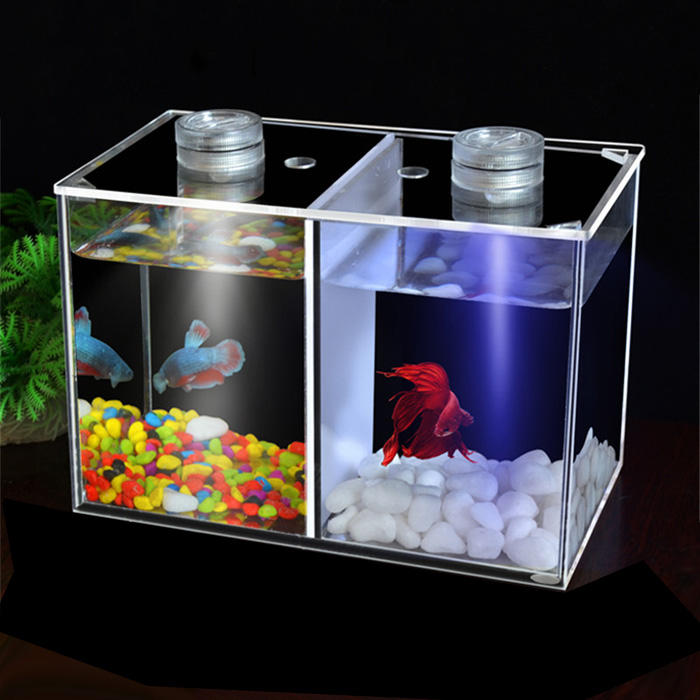 Transparent Acrylic Betta Fish Bowl Tank Two Splits Acrylic Guppy Fish Boxes