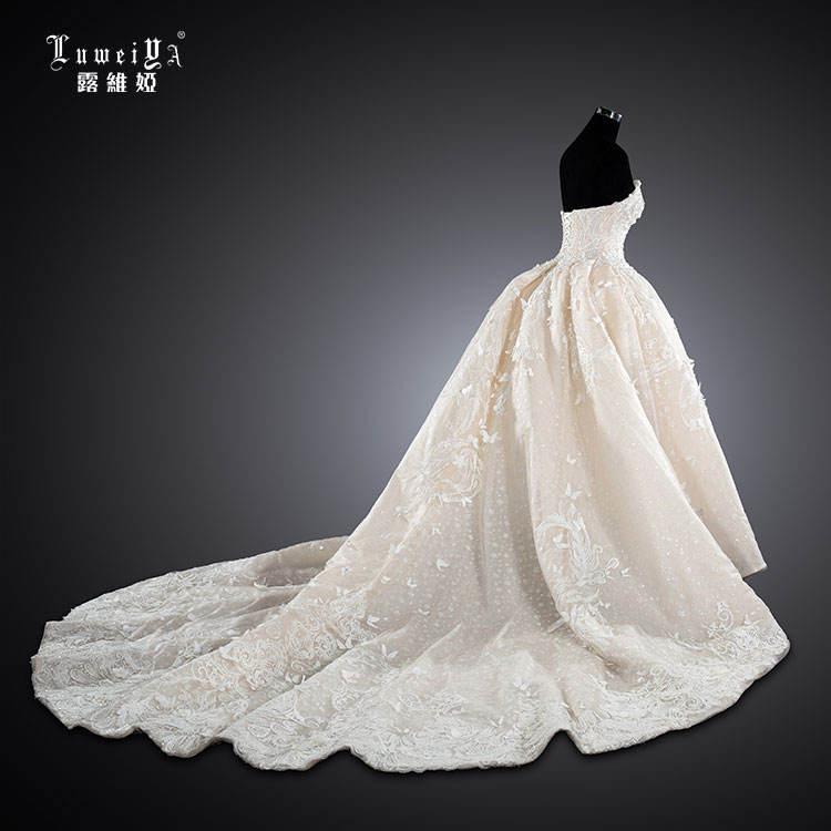 LUWEIYA Strapless Sang Trọng Pha Lê Wedding Gowns Cho Cô Dâu Với Đuôi Dài Cô Dâu Gown Wedding Dresses Vestidos De Novia 2021