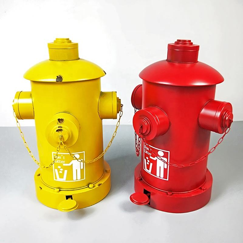 Creative Fire Hydrant Trash Can Pedal Retro Iron Bar Restaurant Storage Barrel Industrial Ornaments Decorative Waste Bin