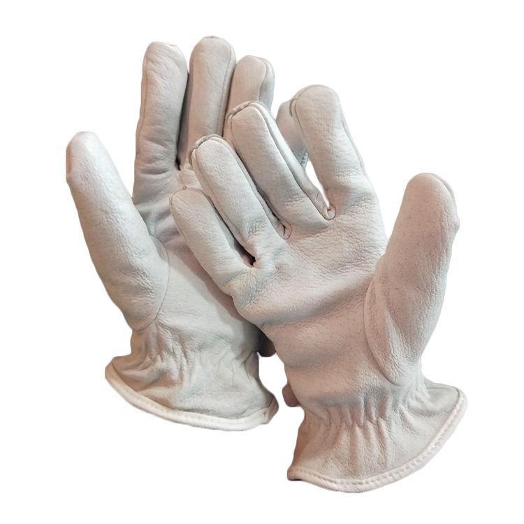 工場価格シャモア肌タイト超薄型レザー手袋作業労働保護白い手袋
