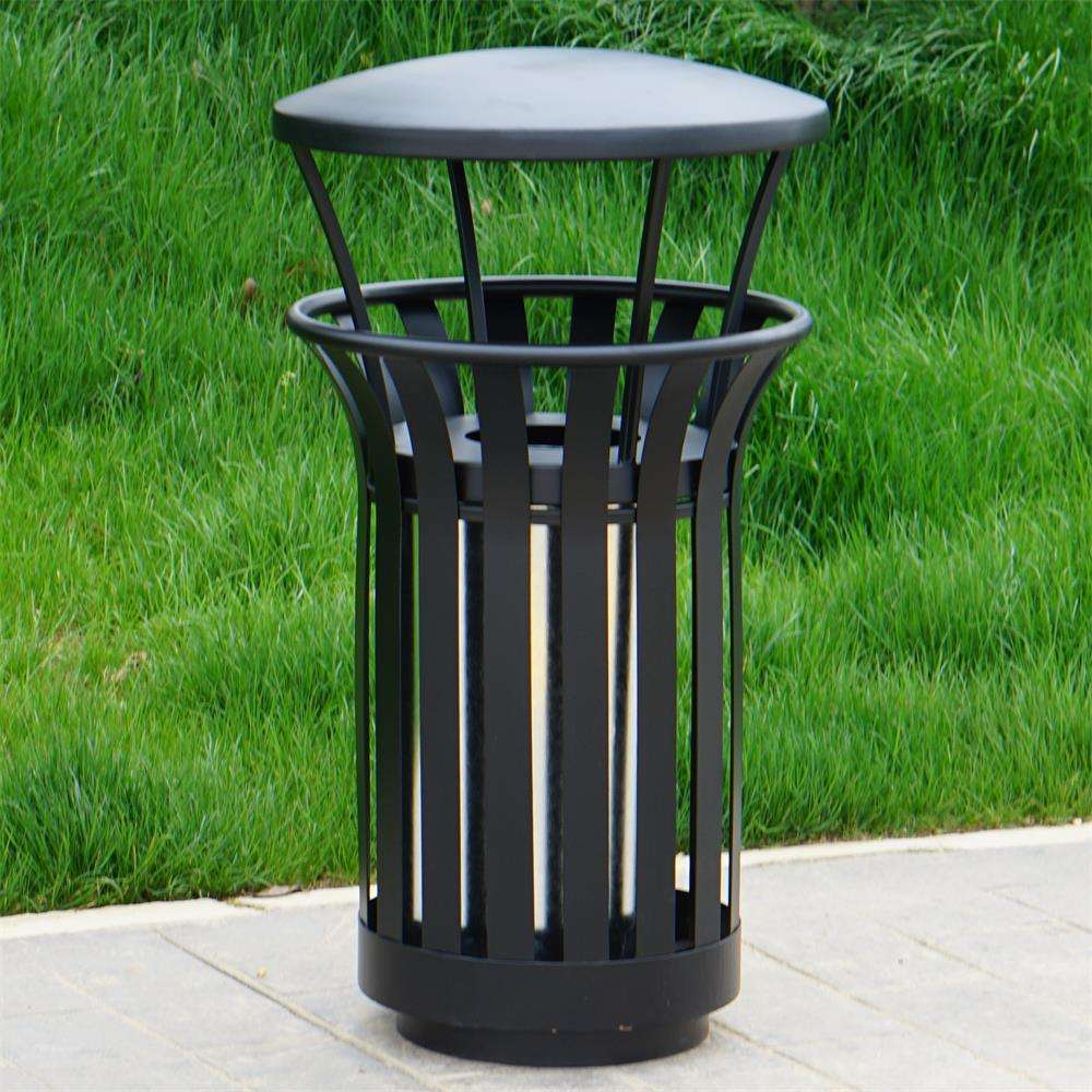 China New Design galvanized iron outdoor round standing metal garbage trash can