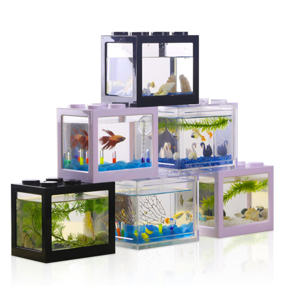 Betta fish tank Multi-function scatola variopinta Mini acquario Creativo Building block serbatoio di pesce