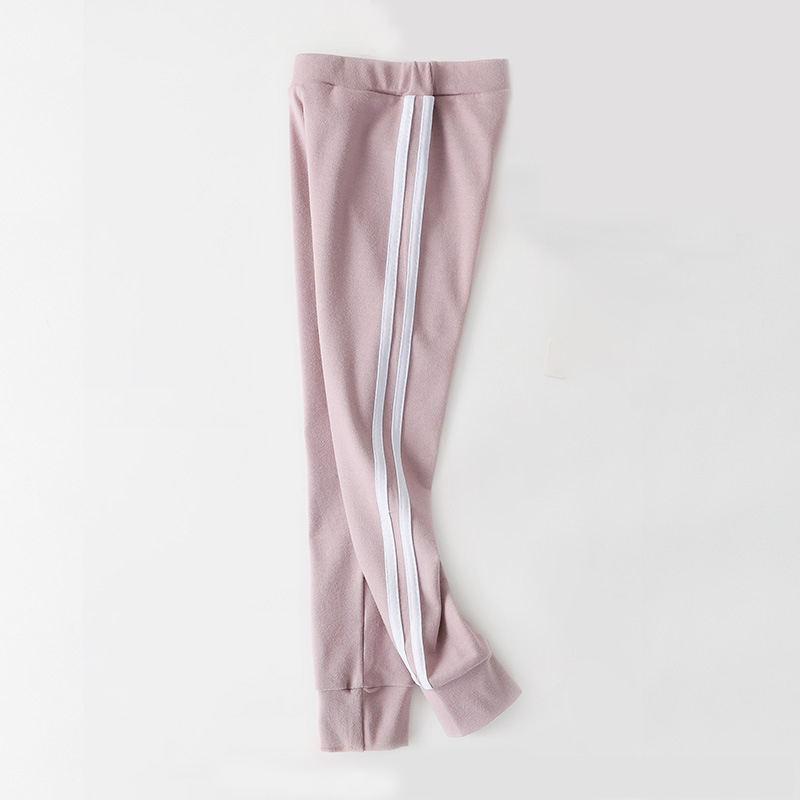 Новое поступление, осенне-зимние детские брюки, хлопковые леггинсы с полосками по бокам для маленьких девочек