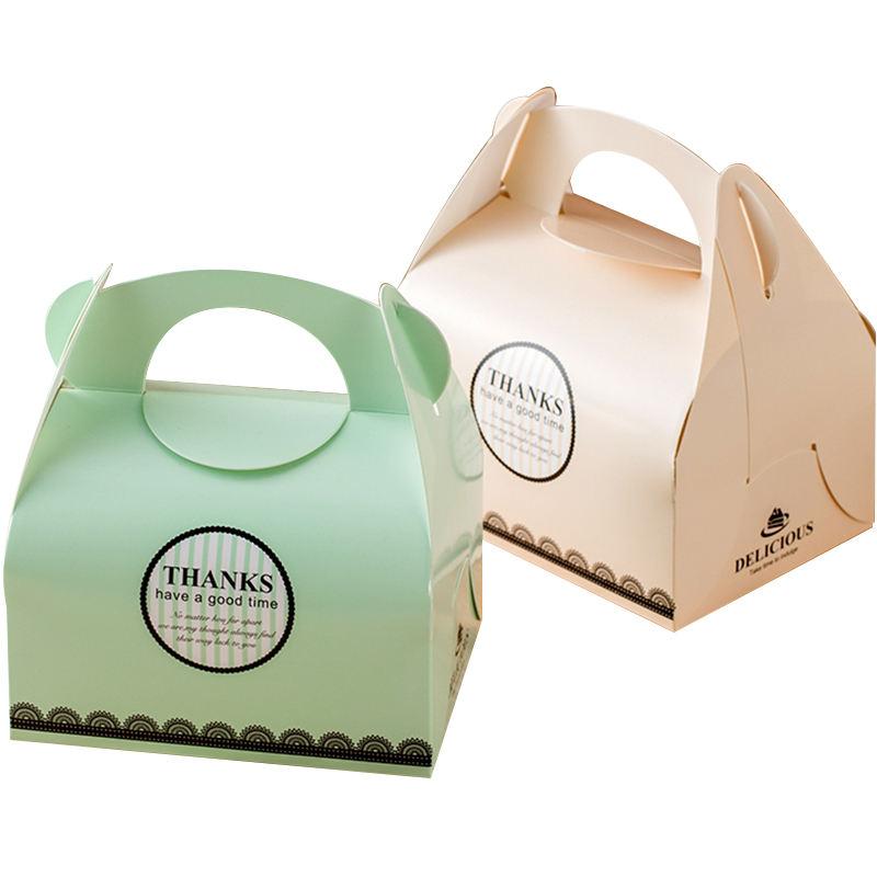 Personalizado De Aniversário De Impressão Pequeno Bolo Caixas De Bolo De Papelão Caixa de Embalagem Com Alça Em Massa