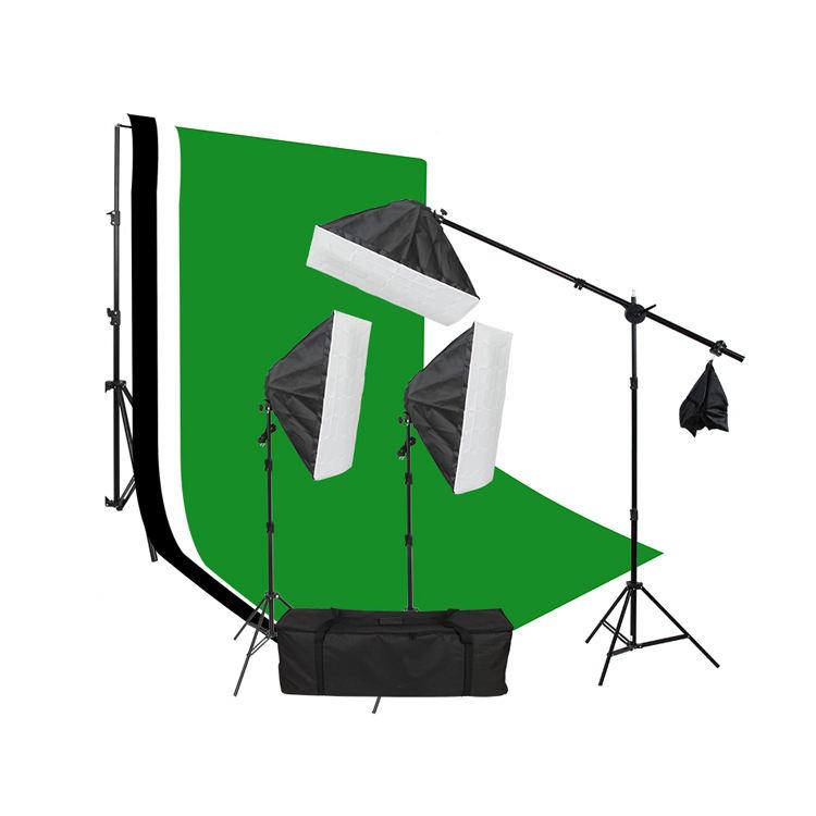 хеллоуина зеленый экран муслиновых фонов задников на легкой стойке в фотостудии с двумя зонтик лампочки комплект с держателем