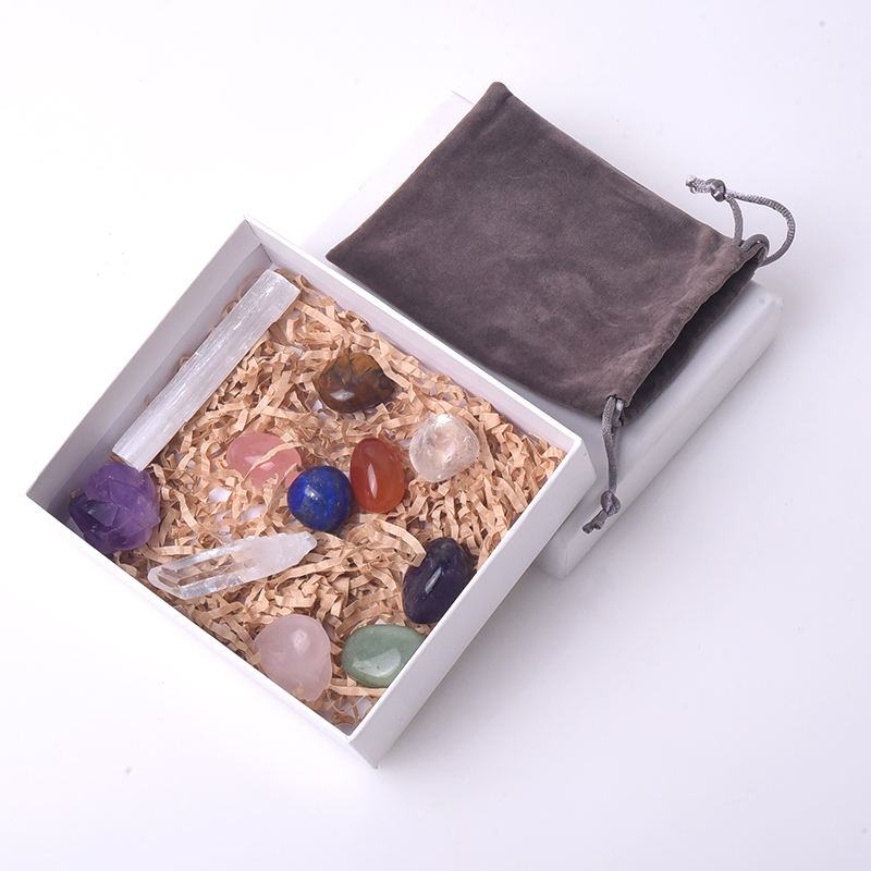 Wholesale Abundance and Prosperity Chakra Gemstone Crystal Gift Box Kit for Therapy Healing
