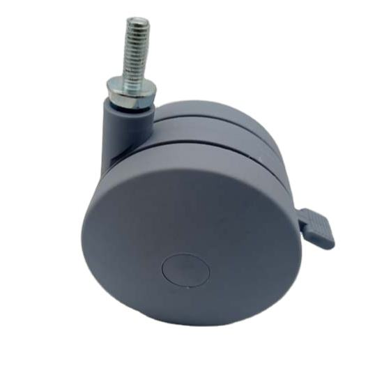 Customized 50mm 75mm 100mm 2inches 3 inches 4 inches grey PA nylon twin wheel caster wheel for trolley made in china
